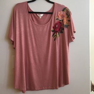 NEW Plus Size 2X Adiva Short Sleeve Top  Rose